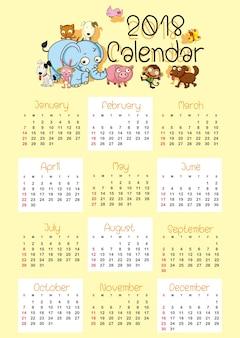 Modèle de calendrier pour 2018 avec des animaux marrants