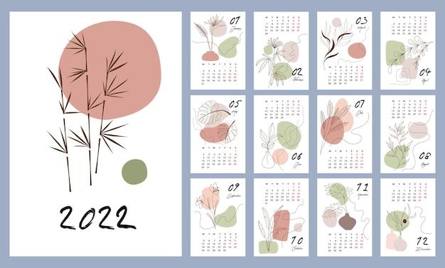 Modèle de calendrier pour 2022. conception verticale avec des motifs floraux abstraits. illustration vectorielle modifiable, ensemble de 12 mois avec couvercle. la semaine commence le lundi.