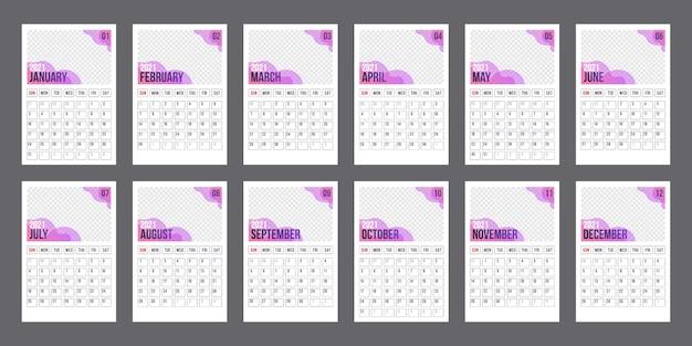 Modèle de calendrier pour l'année 2021. planificateur d'entreprise. calendrier d'entreprise et d'affaires. la semaine commence le lundi. ensemble de 12 mois. agenda agenda dans un style minimaliste.