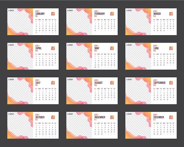 Modèle de calendrier pour l'année 2021. planificateur d'entreprise. calendrier d'entreprise et d'affaires.