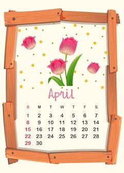 Modèle de calendrier pour avril avec tulipe rose