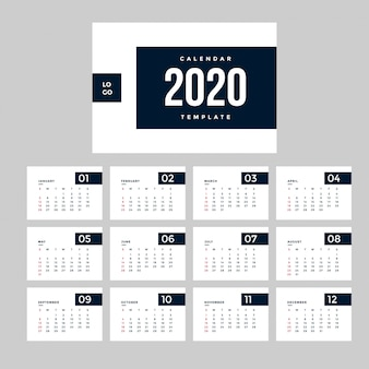 Modèle calendrier professionnel minimaliste 2020