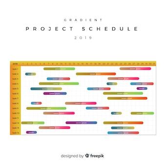Modèle de calendrier de projet coloré avec style dégradé