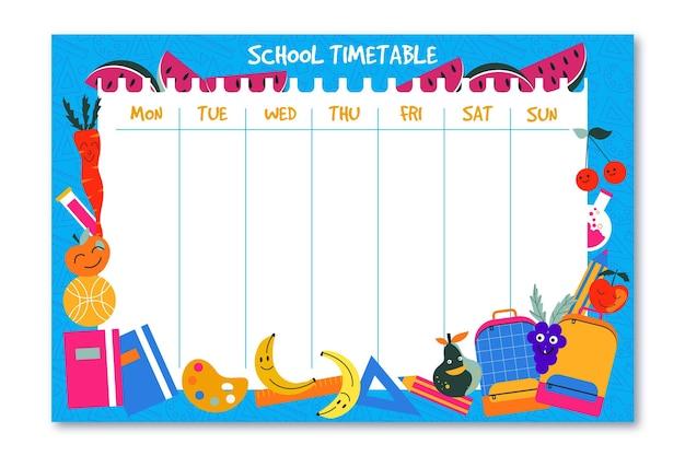 Modèle de calendrier de retour à l'école