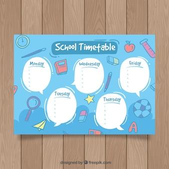 Modèle de calendrier scolaire bleu