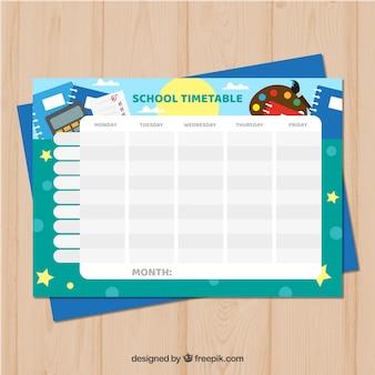 Modèle de calendrier scolaire avec deisgn plat