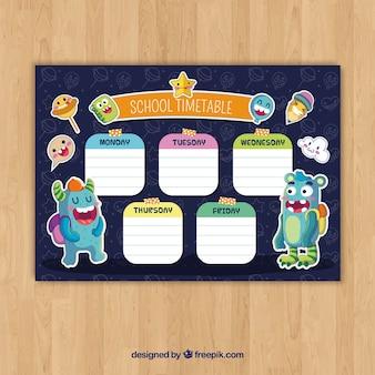 Modèle de calendrier scolaire avec un design plat