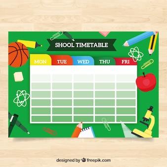 Modèle de calendrier scolaire drôle avec un design plat