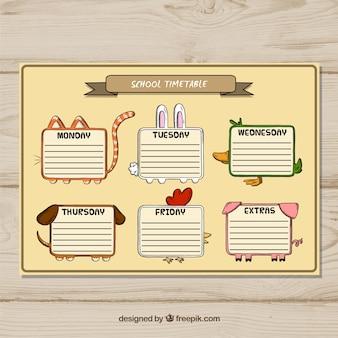 Modèle de calendrier scolaire drôle avec style dessiné à la main