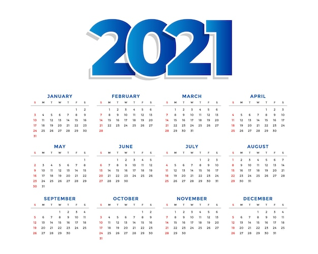 Modèle de calendrier simple nouvel an