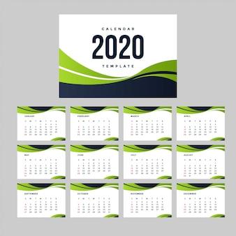 Modèle de calendrier vert 2020