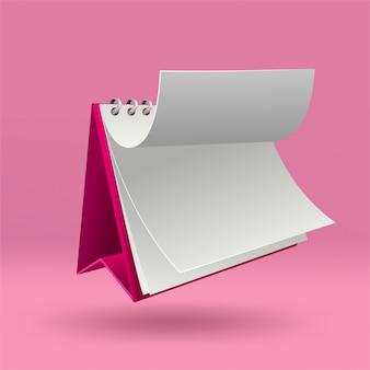 Modèle de calendrier vierge 3d avec couvercle ouvert sur rose avec des ombres douces.
