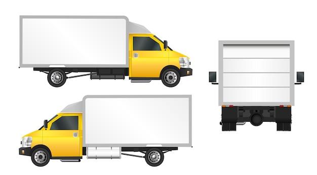 Modèle de camion jaune. livraison de véhicules utilitaires en ville.