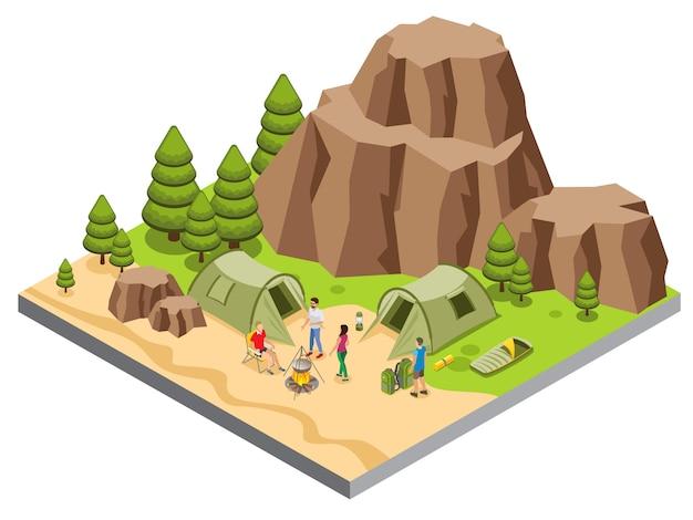 Modèle de camping de montagne isométrique avec des touristes nourriture tentes de cuisine tapis sac de couchage lanterne arbres