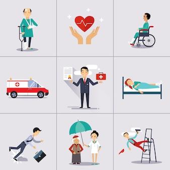 Modèle de caractère et d'icônes d'assurance.