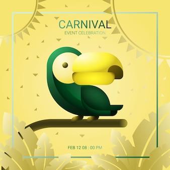 Modèle de carnaval avec illustration toucan