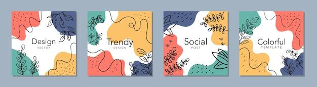 Modèle carré abstrait branché avec concept coloré. publication sur les réseaux sociaux