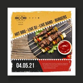 Modèle carré de flyer barbecue