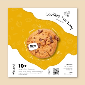 Modèle carré de flyer de cookies