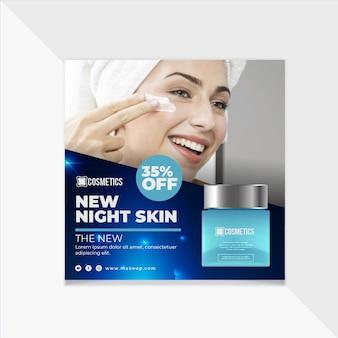 Modèle carré de flyer cosmétique beauté pour le visage