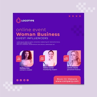 Modèle carré de flyer femme d & # 39; affaires