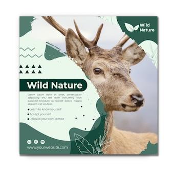 Modèle carré de flyer nature sauvage