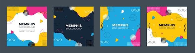 Modèle carré de memphis géométrique abstrait branché avec concept coloré.
