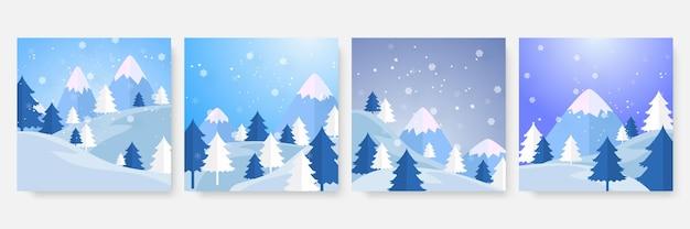 Modèle carré de vente de noël d'hiver et de fin d'année pour les médias sociaux. carte d'hiver de noël universelle avec neige, ballon, cadeau, arbre, montagne, étoile et flocon de neige, paillettes et bonhomme de neige.