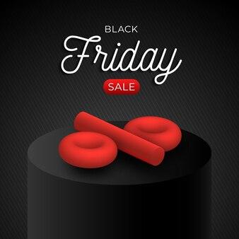 Modèle carré de vente vendredi noir avec symbole de pourcentage 3d rouge