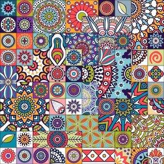 Modèle de carreaux marocaine avec mandalas
