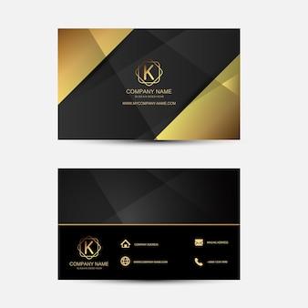 Modèle de carte d'affaires or et noir. design plat