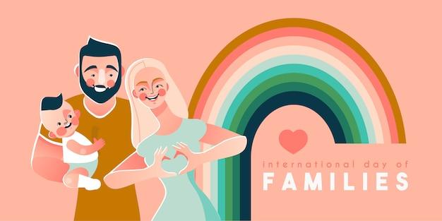 Modèle de carte ou affiche de la journée internationale des familles avec homme, femme et fils