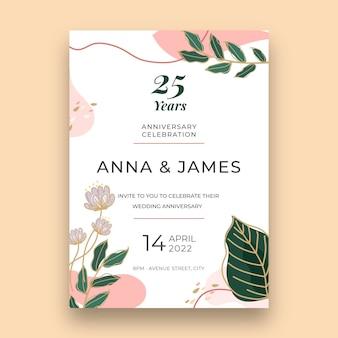 Modèle de carte d'anniversaire de 25 ans