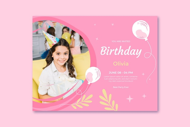 Modèle de carte d'anniversaire avec ballon