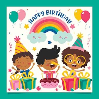Modèle de carte d'anniversaire coloré mignon