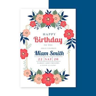 Modèle de carte d'anniversaire élégant avec des fleurs