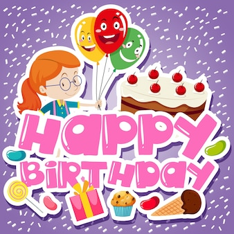 Modèle de carte d'anniversaire avec fille et gâteau