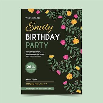 Modèle de carte d'anniversaire floral