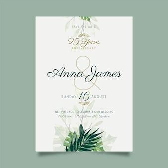 Modèle de carte d'anniversaire de mariage de 25 ans