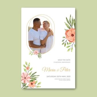 Modèle de carte d'anniversaire de mariage