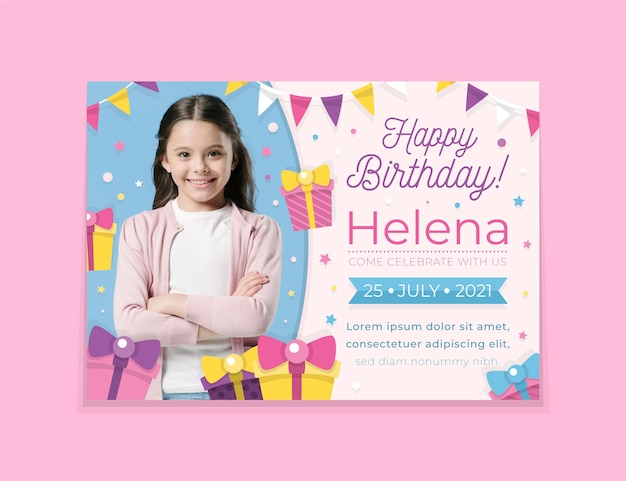 Modèle de carte d'anniversaire pour enfants avec photo