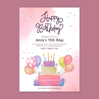 Modèle De Carte D'anniversaire Pour Enfants Vecteur gratuit