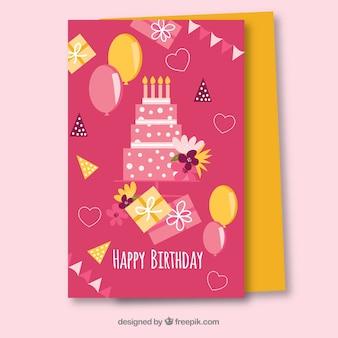 Modèle de carte d'anniversaire rose plat