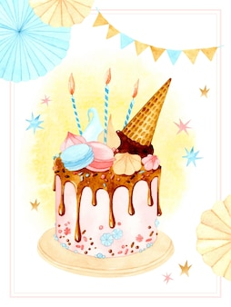 Modèle de carte aquarelle de gâteau d'anniversaire
