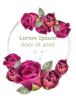 Modèle de carte aquarelle de roses roses