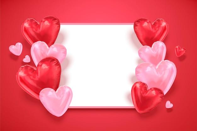 Modèle de carte de ballons en forme de coeur