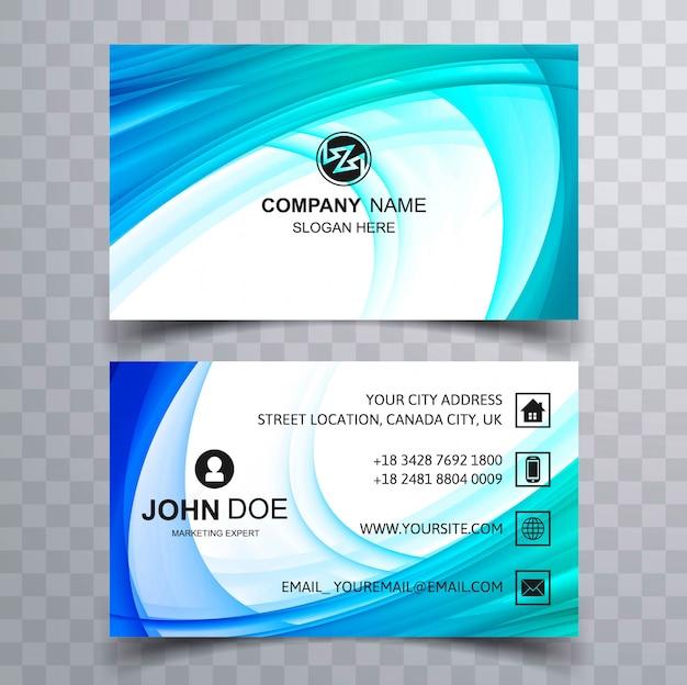 Modèle de carte belle entreprise bleu wave