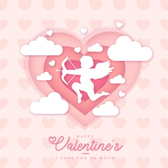 Modèle de carte de belle saint-valentin heureuse