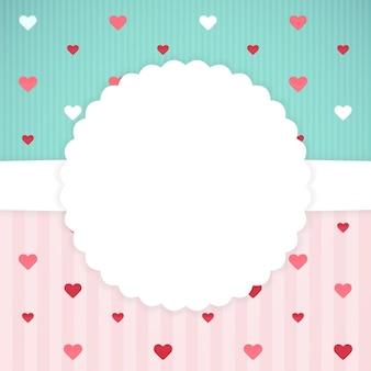 Modèle de carte bleu et rose avec des coeurs. illustration vectorielle