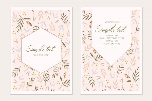Modèle de carte botanique. cartes d'invitation